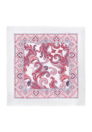 Calabrese 1924 Red and White Paisley Linen Pocket Square