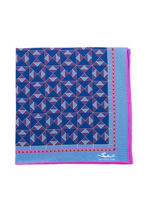 Augustus Hare Navy, Sky and Pink Mosaic Silk Pocket Square