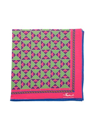 Augustus Hare Pink, Purple and Lime Mosaic Silk Pocket Square