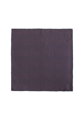 Cifonelli Burgundy and Navy Prince Of Wales Check Silk Pocket Square