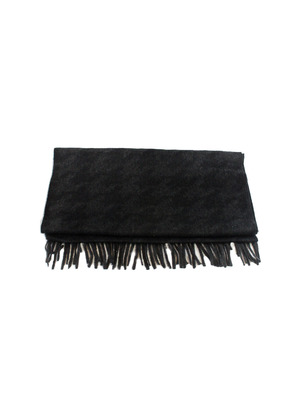 Edward Sexton Charcoal Grey and Black Houndstooth Scarf