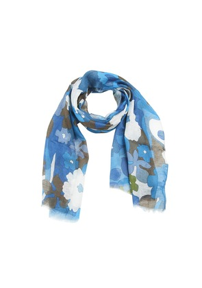 Calabrese 1924 Blue and Brown Floral Linen Scarf