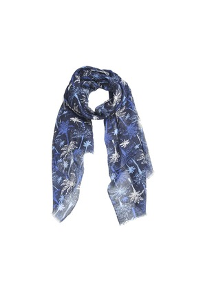 Calabrese 1924 Blue and Black Palm Tree Linen Scarf