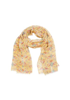 Calabrese 1924 Yellow, Red and Turquoise Floral Linen Scarf