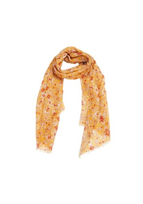 Calabrese 1924 Mustard and Red Floral Linen Scarf
