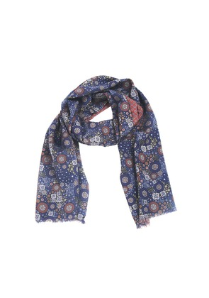 Fumagalli 1891 Blue Floral and Paisley Wool Scarf