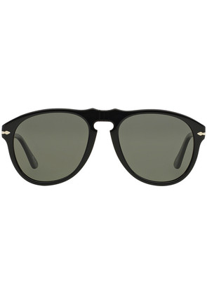 Persol Icons PO0649 95/58 Black with Crystal Green Lenses Sunglasses