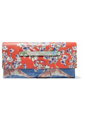 Valentino Woman Mime Printed Leather Clutch Multicolor Size -