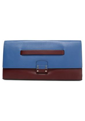 Valentino Woman Mime Color-block Leather Clutch Merlot Size -
