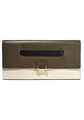 Valentino Woman Mime Color-block Leather Clutch Army Green Size -