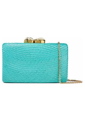 Kayu Woman Embellished Woven Straw Clutch Turquoise Size -