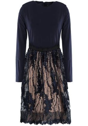 Catherine Deane Woman Floral-appliquéd Sequin-embellished Stretch-jersey And Tulle Dress Navy Size 8