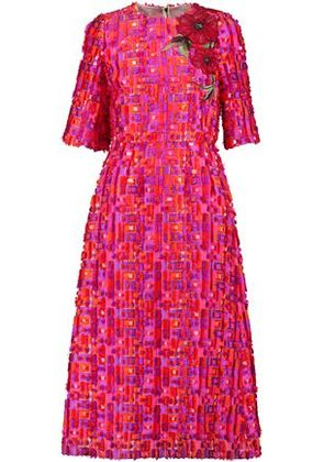 Dolce & Gabbana Woman Embroidered Fil-coupé Woven Midi Dress Pink Size 40