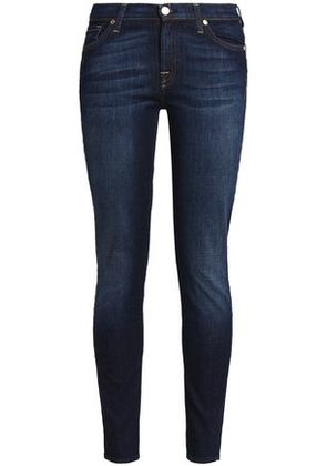 7 For All Mankind Woman Faded Mid-rise Skinny Jeans Dark Denim Size 23