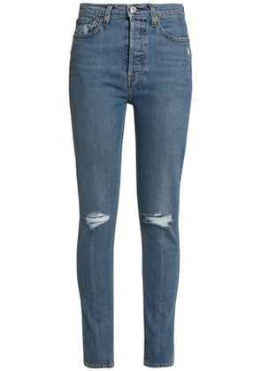 Re/done By Levi's Woman Distressed High-rise Skinny Jeans Mid Denim Size 26