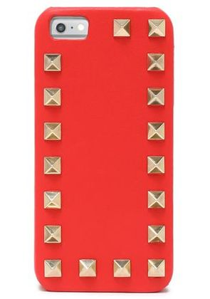 Valentino Woman Rockstud Leather Iphone 5/5s/se Case Tomato Red Size -