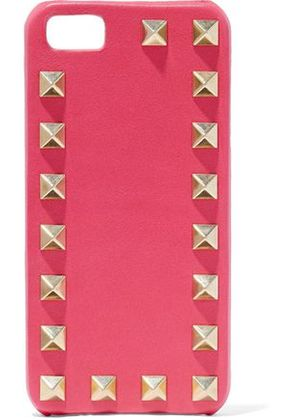 Valentino Woman Rockstud Leather Iphone 5 Case Bright Pink Size -