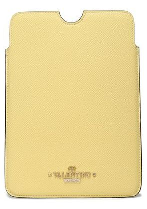 Valentino Woman Leather Tablet Case Pastel Yellow Size -