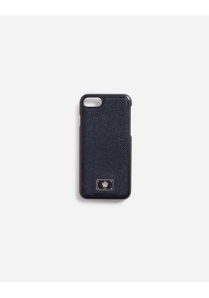 Dolce & Gabbana Hi-Tech Accessories - iPHONE 7 COVER WITH DAUPHINE LEATHER DETAIL BLUE
