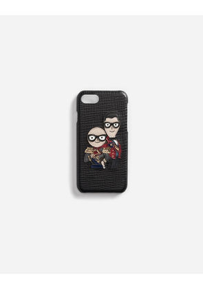 Dolce & Gabbana Hi-Tech Accessories - iPHONE 7 COVER IN LEATHER WITH DESIGNERS' PATCHES BLACK