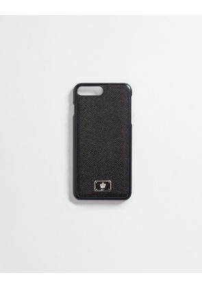 Dolce & Gabbana Hi-Tech Accessories - IPHONE 7 PLUS COVER WITH DAUPHINE LEATHER DETAILS BLACK