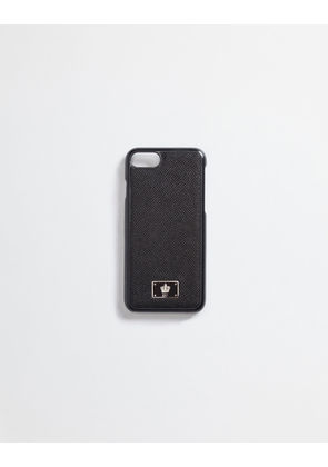 Dolce & Gabbana Hi-Tech Accessories - IPHONE 7 COVER WITH DAUPHINE LEATHER DETAILS BLACK