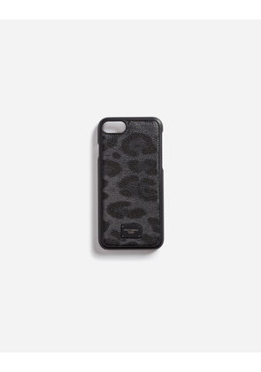 Dolce & Gabbana Hi-Tech Accessories - IPHONE 7 COVER WITH LEOPARD PRINT CREPE DETAIL LEOPARD