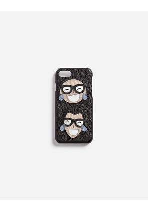 Dolce & Gabbana Hi-Tech Accessories - DAUPHINE CALFSKIN IPHONE 7 COVER WITH DESIGNERS' PATCH BLACK