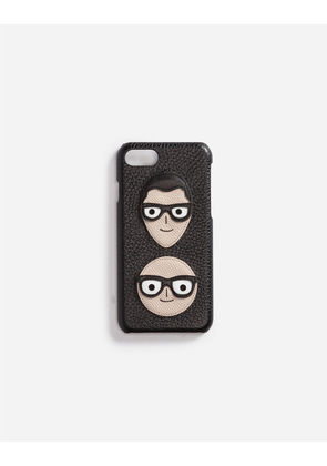 Dolce & Gabbana Hi-Tech Accessories - IPHONE 7 COVER WITH PATCHES OF THE DESIGNERS BLACK