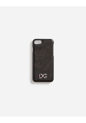 Dolce & Gabbana Hi-Tech Accessories - IPHONE 7 COVER WITH LEATHER DETAIL AND LOGO PATCH BLACK