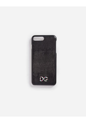 Dolce & Gabbana Hi-Tech Accessories - IPHONE 7 PLUS COVER WITH LEATHER DETAIL AND LOGO PATCH BLACK