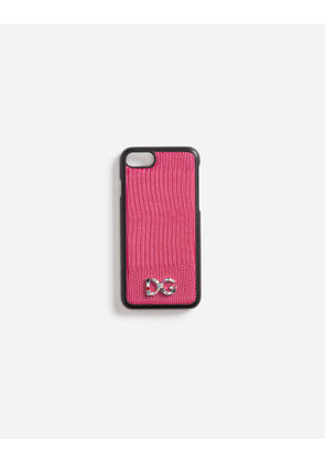 Dolce & Gabbana Hi-Tech Accessories - IPHONE 7 COVER WITH LEATHER DETAIL AND LOGO PATCH PINK