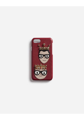 Dolce & Gabbana Hi-Tech Accessories - IPHONE 7 COVER WITH PATCHES OF THE DESIGNERS RED