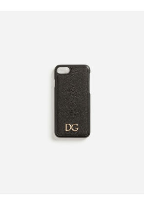 Dolce & Gabbana Hi-Tech Accessories - DAUPHINE CALFSKIN IPHONE 7 COVER WITH DG LOGO BLACK