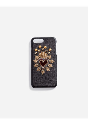 Dolce & Gabbana Hi-Tech Accessories - CALFSKIN IPHONE 7 PLUS COVER WITH SACRED HEART PATCH BLACK