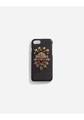 Dolce & Gabbana Hi-Tech Accessories - CALFSKIN IPHONE 7 COVER WITH SACRED HEART PATCH BLACK