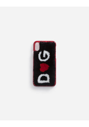 Dolce & Gabbana Hi-Tech Accessories - IPHONE X COVER IN LEATHER WITH LOGO PLATE MULTICOLOR