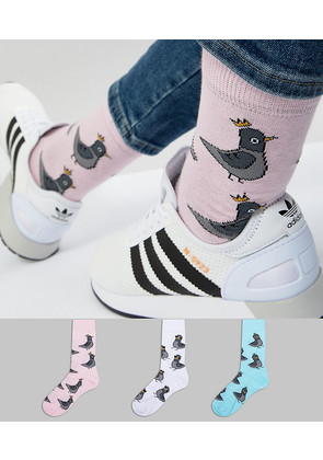 ASOS Socks With Pigeon Design 3 Pack - Multi