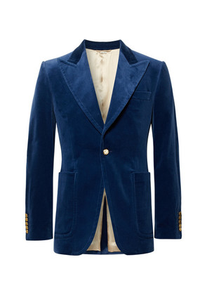 Royal-blue Slim-fit Stretch Cotton And Modal-blend Velvet Blazer
