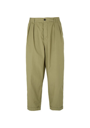 Albam - Wide-leg Pleated Washed Cotton-poplin Trousers - Green