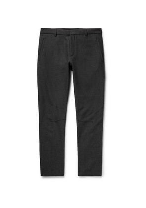 Lanvin - Skinny-fit Herringbone Wool And Cotton-blend Biker Trousers - Charcoal