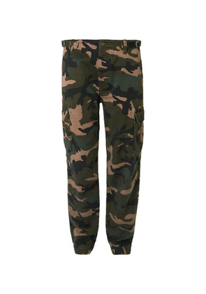 Valentino - Slim-fit Camouflage-print Cotton Cargo Trousers - Green