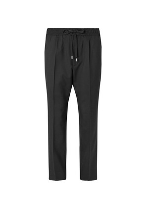 Cropped Wool Drawstring Trousers