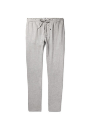 Frescobol Carioca - Slim-fit Mélange Linen And Cotton-blend Drawstring Trousers - Light gray