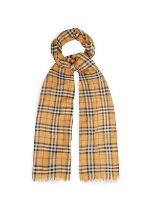 Vintage check wool and silk scarf