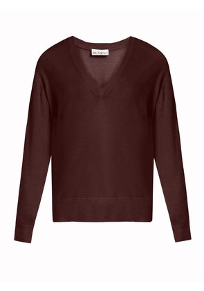 V-neck fine-knit cashmere sweater