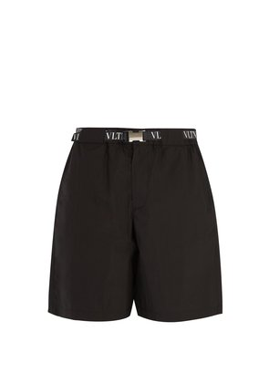 Logo-print belted cotton-blend shorts