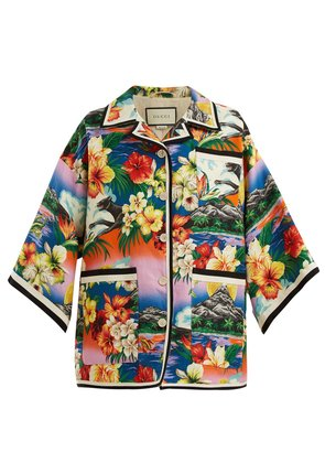 Hawaiian-print oversized linen jacket