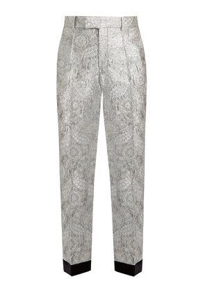 Floral-brocade straight-leg trousers