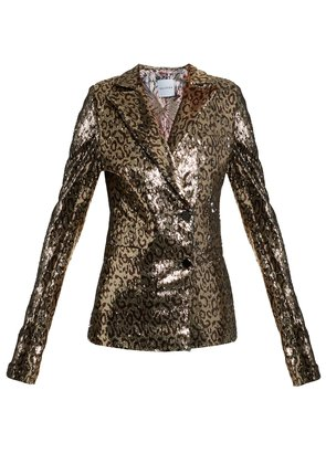 Sequin-embellished notch-lapel blazer
